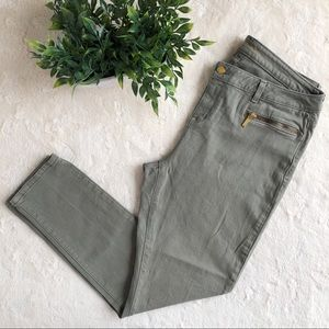 Michael Kors green skinny jeans exposed zipper